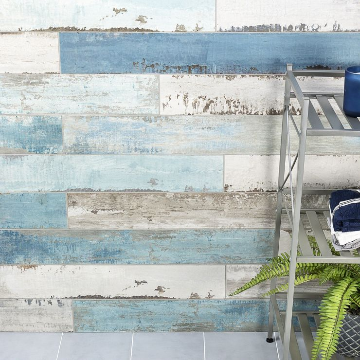 Cyprus 4X32 Ceramic; in White + Blue + Light Blue  Ceramic; for Backsplash, Wall Tile, Bathroom Wall, Shower Wall; in Style Ideas Rustic, Industrial, Traditional