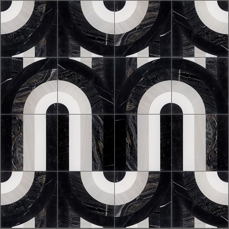Arc Night By Elizabeth Sutton 12X12 Polished Marble: Pattern 9 Mosaic; in Multicolor Marble; for Backsplash, Floor Tile, Wall Tile, Bathroom Floor, Bathroom Wall, Shower Wall, Outdoor Wall, Commercial Floor; in Style Ideas Art Deco, Mid Century