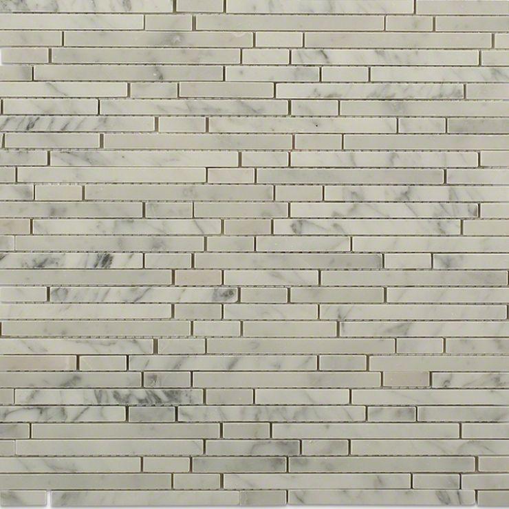 Torpedo Carrara Marble Mosaic Tile; in White w/Gray Carrara; for Backsplash, Floor Tile, Wall Tile, Bathroom Floor, Bathroom Wall, Shower Wall, Outdoor Wall, Commercial Floor; in Style Ideas Craftsman, Modern