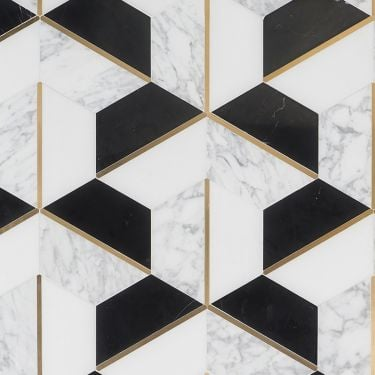 Decade Nero Blanco Polished Marble and Brass Mosaic