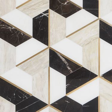 Decade Saint Laurent Beige Polished Marble and Brass Mosaic
