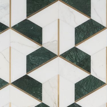 Decade Verde Polished Marble and Brass Mosaic
