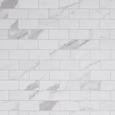 Calacatta Marble Brick 2x4 Solid Core Peel & Stick Mosaic Tile