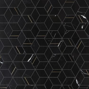 Morgana Nero Polished Marble and Brass Mosaic