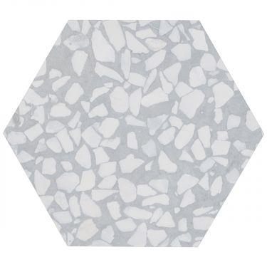 """Terrazzo Hexagon Azulio 9"""" Matte Porcelain Tile"""
