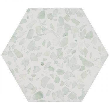 "Terrazzo Hexagon Green 9"" Matte Porcelain Tile"