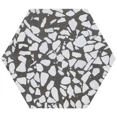 "Terrazzo Hexagon Nero 9"" Matte Porcelain Tile"