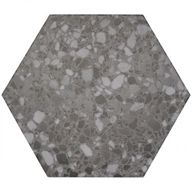"""Six Hexagon Graphite 12.5"""" Matte Porcelain"""