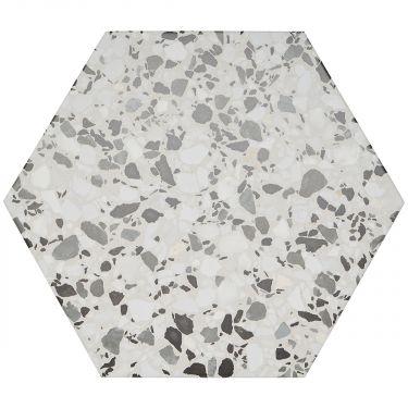 """Six Hexagon Gray 12.5"""" Matte Porcelain"""