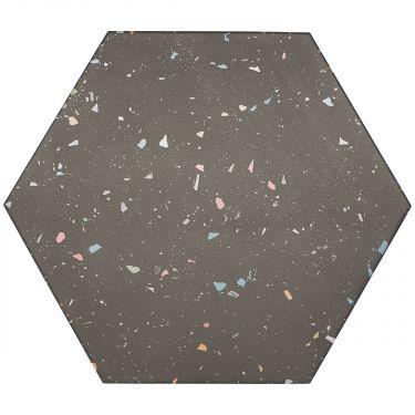 "Six Hexagon Multi Charcoal Graphite 12.5"" Matte Porcelain"