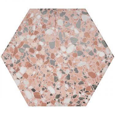 """Six Hexagon Pink Earth 12.5"""" Matte Porcelain"""