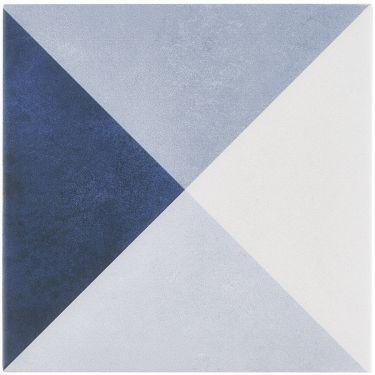 Art Geo Cement Deco Blue by Elizabeth Sutton 8x8 Matte Porcelain Tile