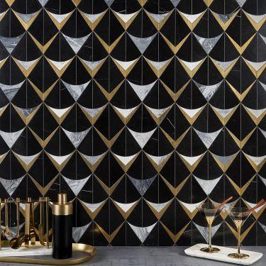 Decorative Marble + Metal Tile for Backsplash,Kitchen Wall,Bathroom Wall,Outdoor Wall