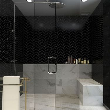 The New Palm Beach Floral Black Polished Marble Mosaic
