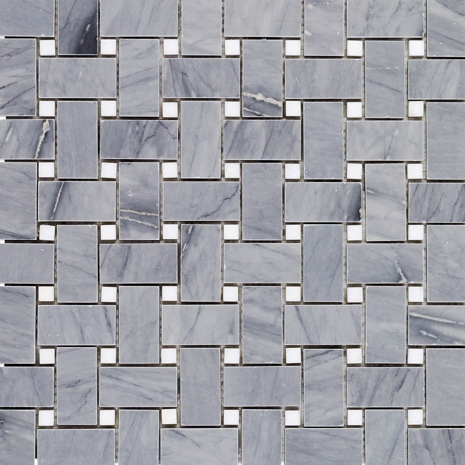 Basket Weave Halley Gray & Thassos Dot Marble Tile