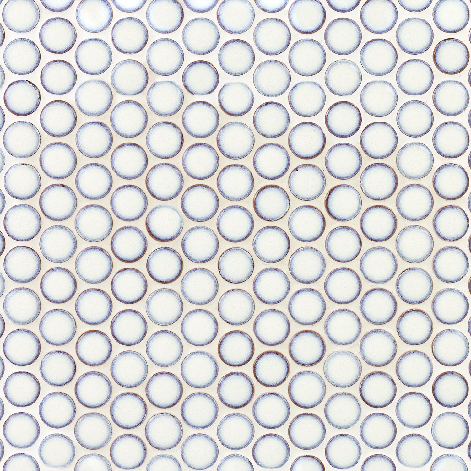 Eden Winter White Penny Round Polished Rimmed Ceramic Tile