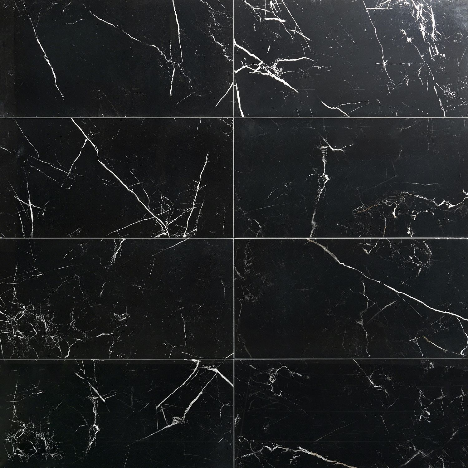 Marble Tech Port Laurent 12x24 Polished Nero Marquina Look Porcelain Tile