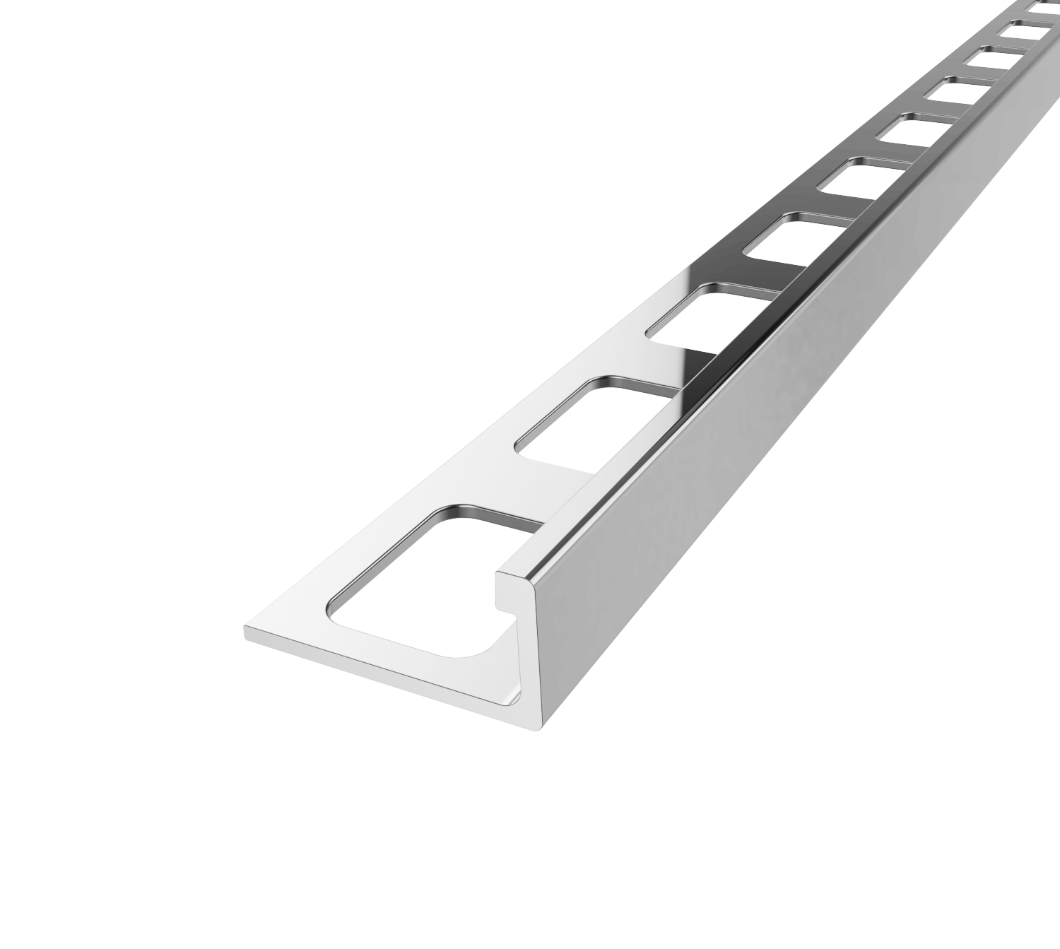 Essential Bright Anodized Silver 8 mm L-Shape Aluminum Tile Edging Trim