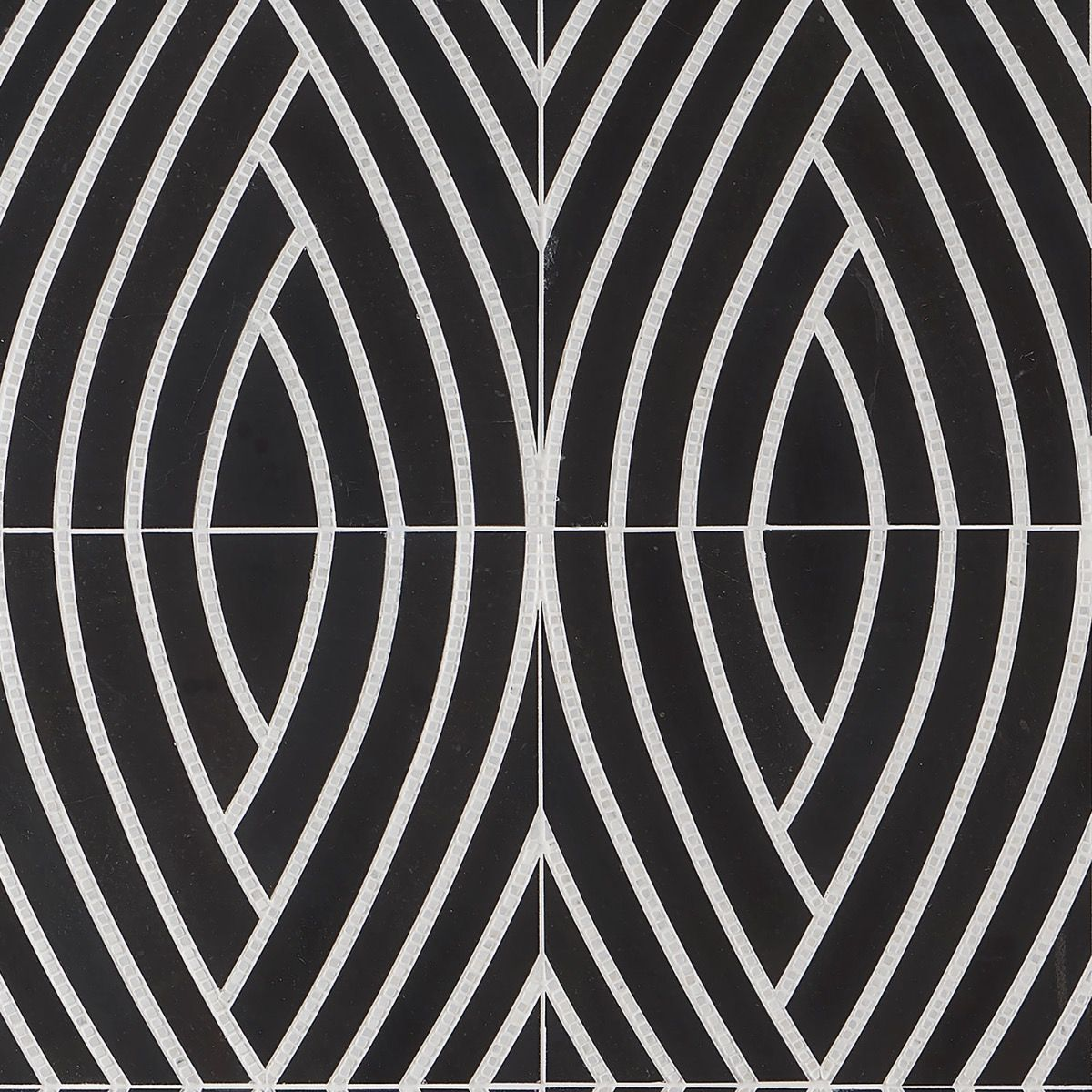 The New Palm Beach by Krista Watterworth Leaf Black Polished Marble Mosaic