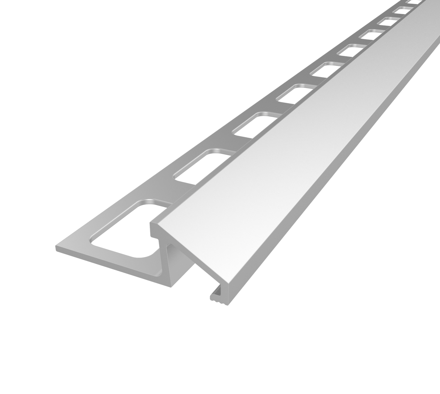 Essential Satin Silver 10 mm Angled Shape Aluminum Tile Edging Trim