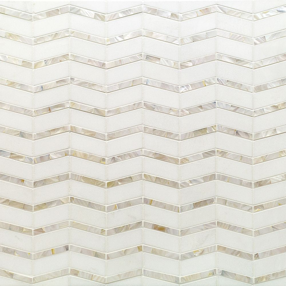 Alerion Thassos Marble and Mother of Pearl Chevron Tile