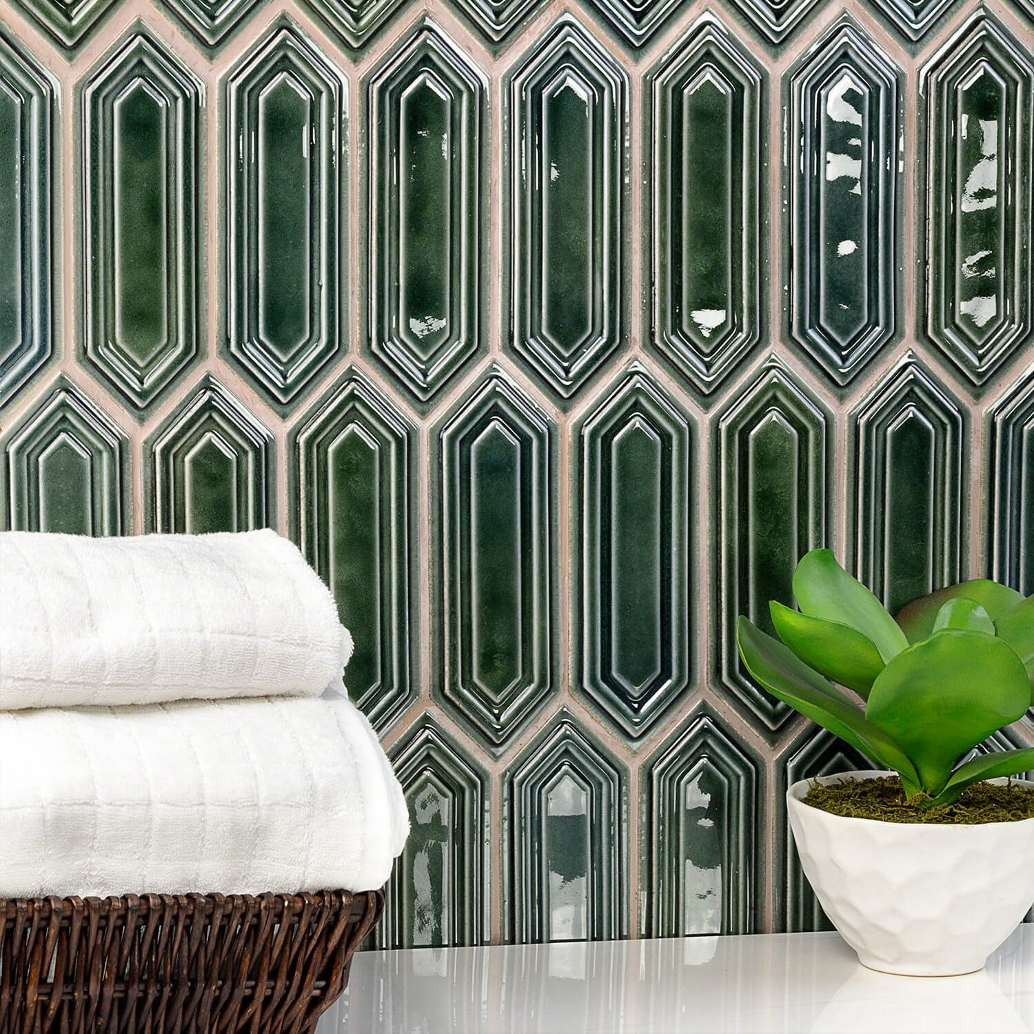 Nabi Hexagon Deep Emerald Ceramic Tile