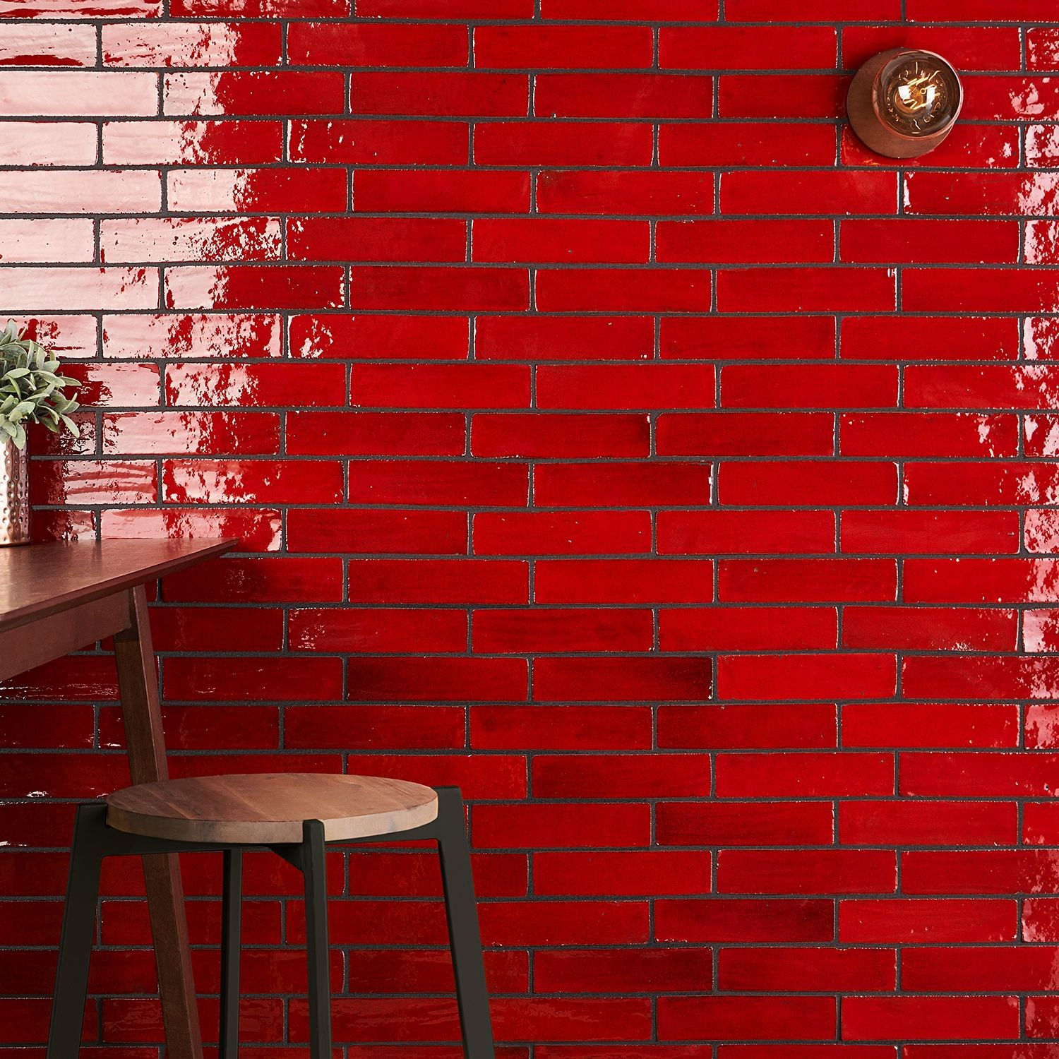 Emery Selenium Red 2x8 Hand Glazed Ceramic Tile