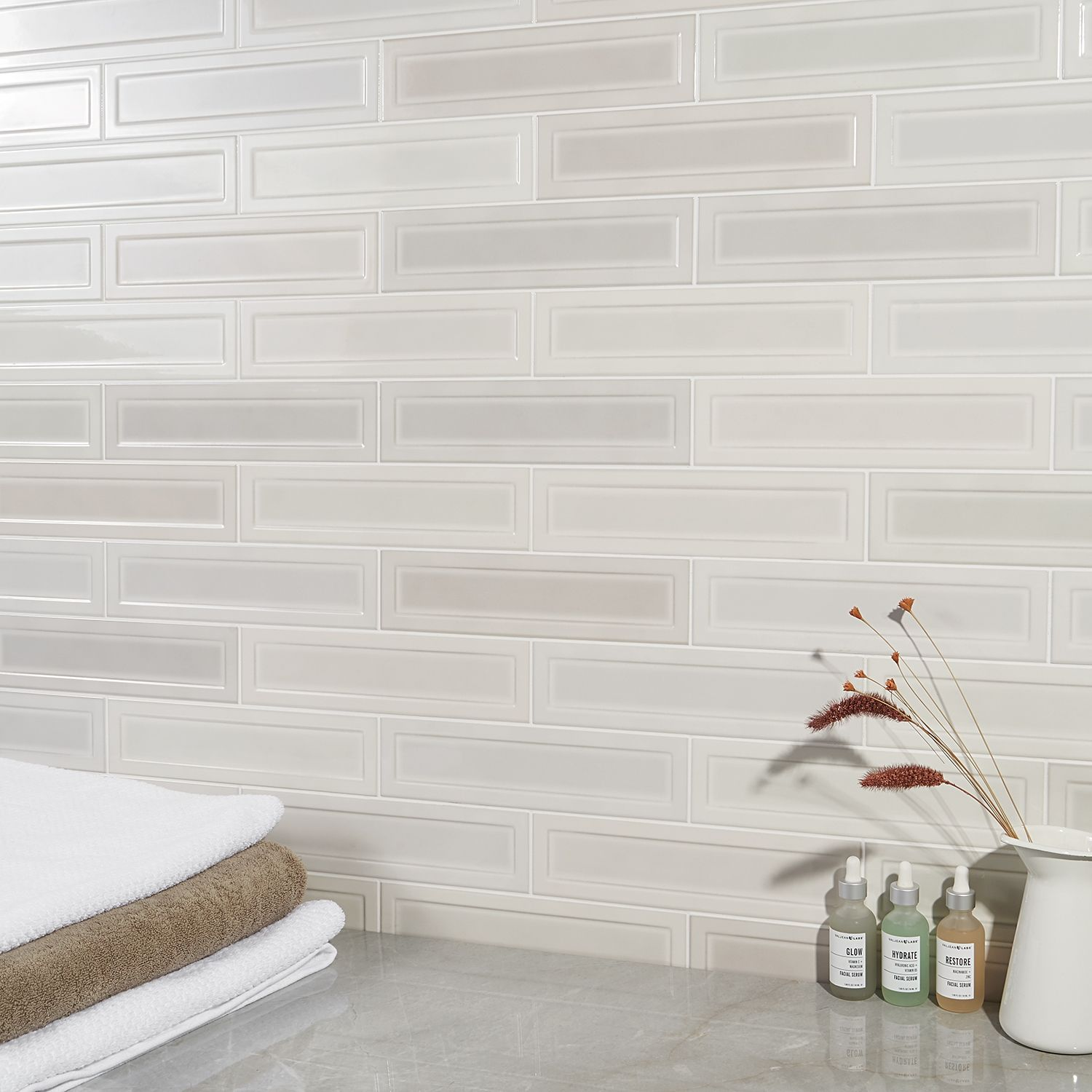 Griffin White Mix 3x12 Polished Ceramic Tile