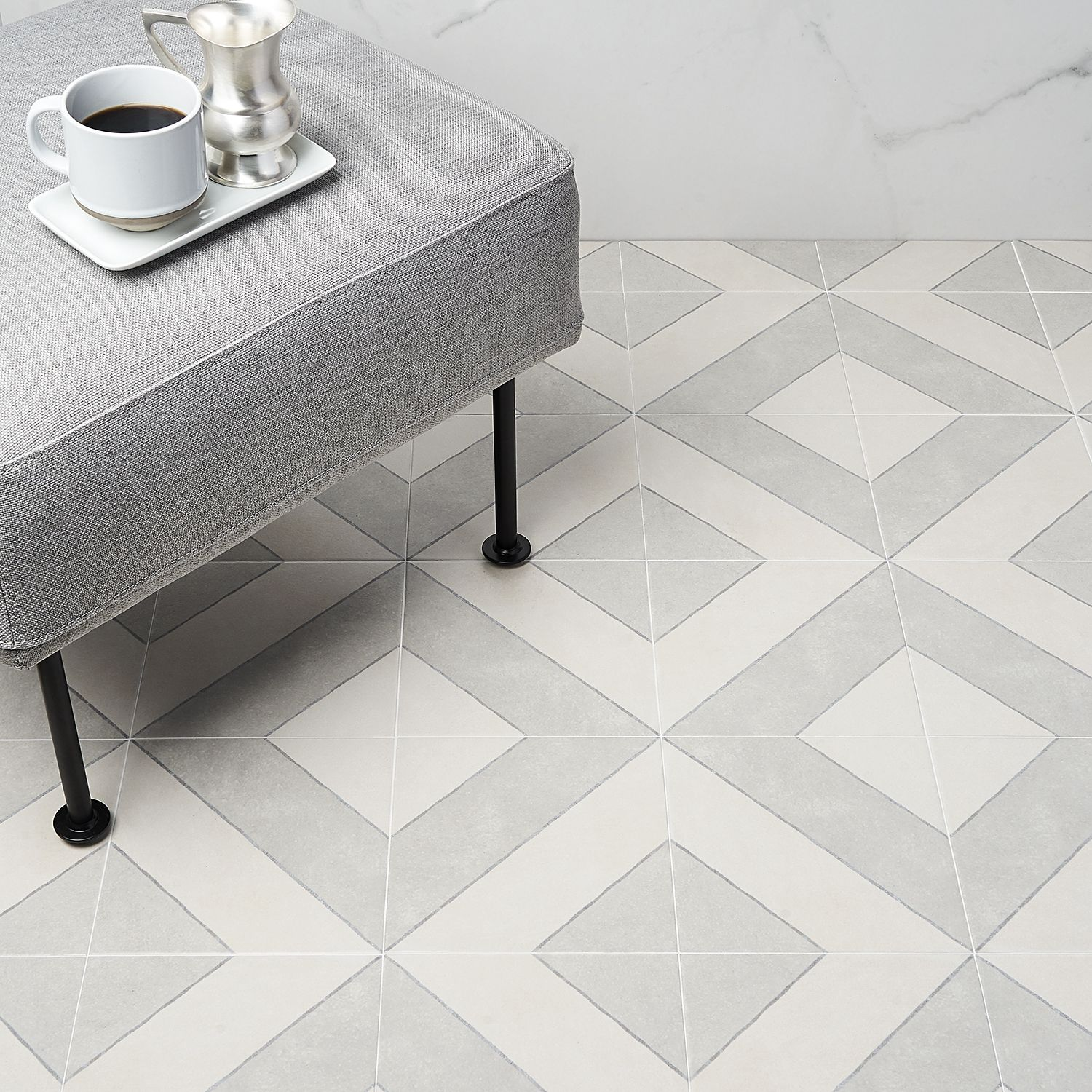 Auteur Diagonals Ash 9x9 Porcelain Tile: Pattern 2